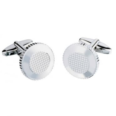 Round Silver Plated Cufflinks CL46