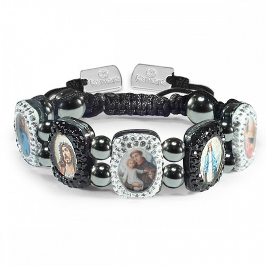 Kamara Black & White Crystal - Mother of Pearl Saints Bracelet KAM121