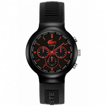Lacoste Men's Black Rubber Borneo Chronograph Watch 2010652