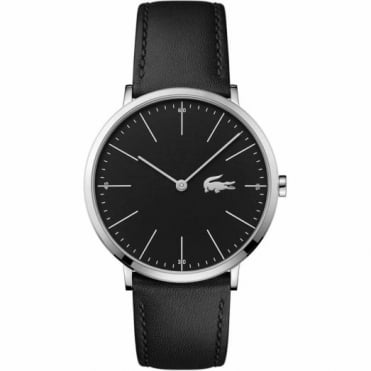 Men's S/Steel Black Leather Watch 2010873