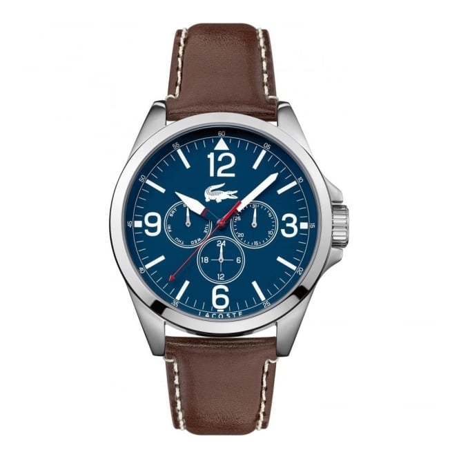 Lacoste Men's S/Steel Brown Leather Montreal Watch 2010805
