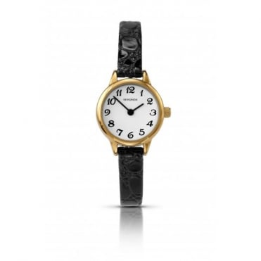 Ladies' Black Leather Watch 4473