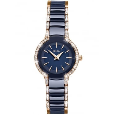 Ladies' Blue Ceramic Stone Set Entice Watch 2382