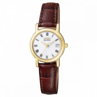 Ladies Brown Leather Eco-Drive Watch EW1272-01B