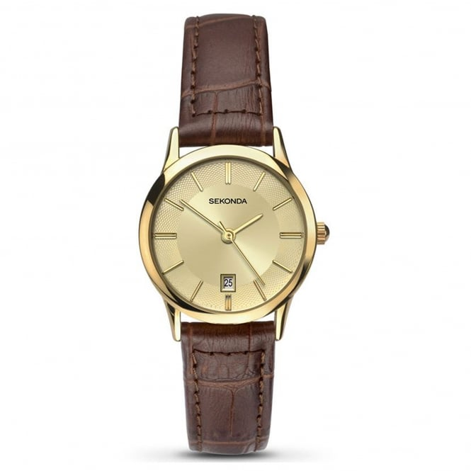 Ladies' Brown Leather Strap Watch 2458
