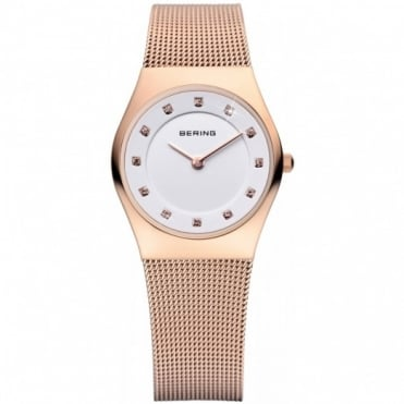 Bering Ladies' Classic Rose Gold Plated Watch 11927-366