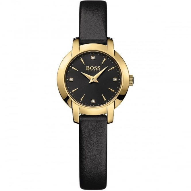Hugo Boss Ladies' Gold Plate Black Leather Success Watch 1502383