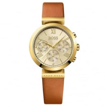 Ladies' Gold Plate Brown Leather Classic Sport Watch 1502396