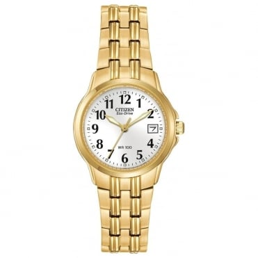 Ladies' Gold Plate Eco-Drive Watch EW1542-59A