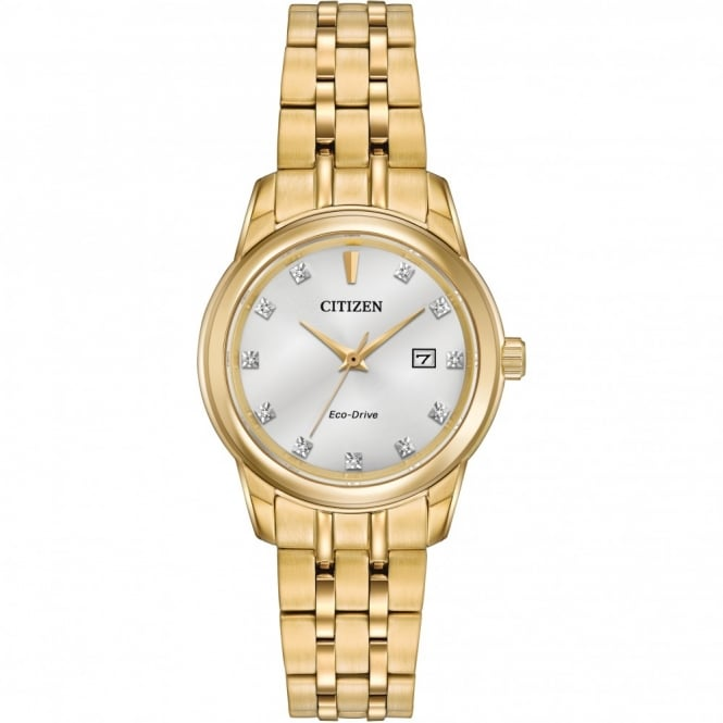 Ladies' Gold Plate Eco-Drive Watch EW2392-54A