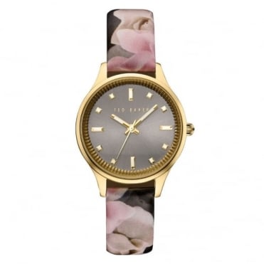 Ladies' Gold Plate Floral Print Watch TE10030742