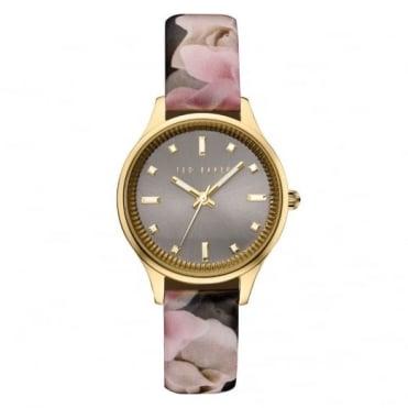 Ted Baker Ladies' Gold Plate Floral Print Watch TE10030742