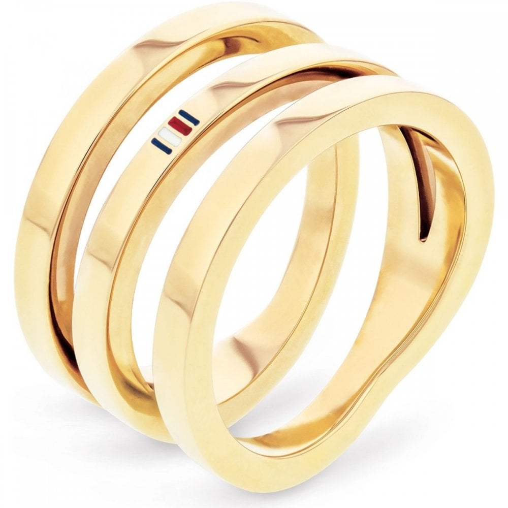 ea6a35e7e Tommy Hilfiger Jewellery Ladies' Gold Plated Cross Over Ring 2701100D