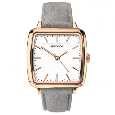 Ladies' Grey Leather Strap Watch 2451