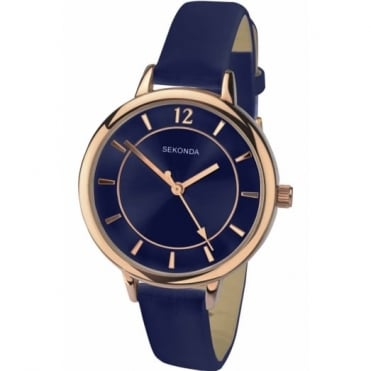 Ladies' Rose Blue Leather Watch 2136