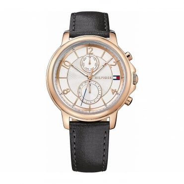 Ladies Rose Gold Case Black Leather Strap 178817