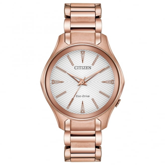 Ladies' Rose Gold Plate Modena Eco-Drive Watch EM0593-56A