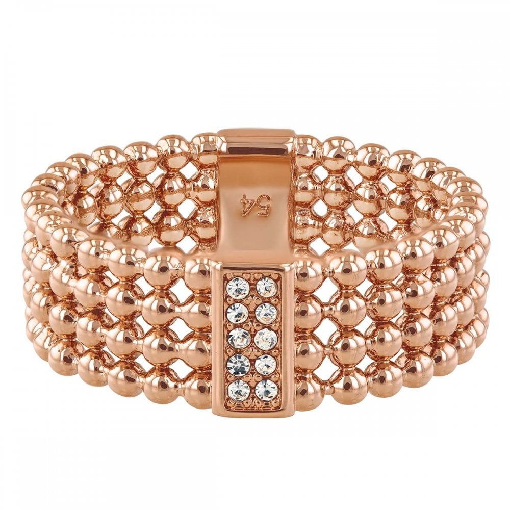61661aa37 Tommy Hilfiger Jewellery Ladies' Rose Gold Plated Beaded Ring 2780099E