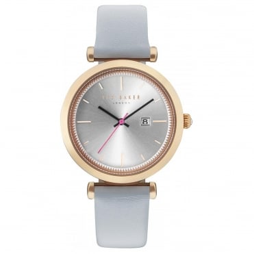 Ladies' Rose Gold Plated Grey Leather Ava Watch TE10031520