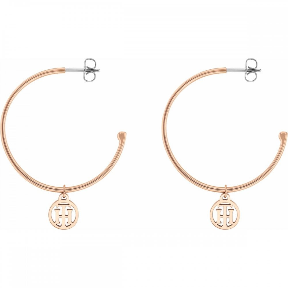 9c3a5bf7e Tommy Hilfiger Jewellery Ladies' Rose Gold Plated Hoop Earrings 2780024