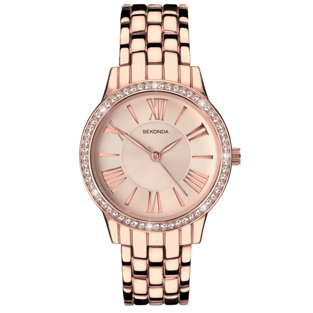 5a966dc8c4f Sekonda Editions Ladies  Rose Gold Plated Stone Set Bracelet Watch 2400