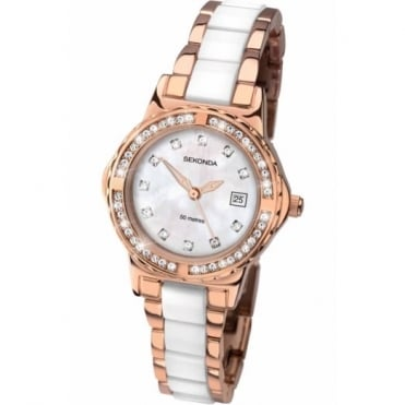 Ladies' Rose Gold Plated Stone Set Watch 2022
