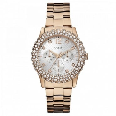 Ladies Rose Gold Stone Set Dazzler Watch W0335L3