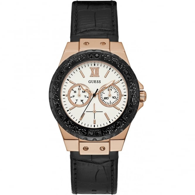 Ladies' Rose Plate Black Leather Limelight Watch W0775L9