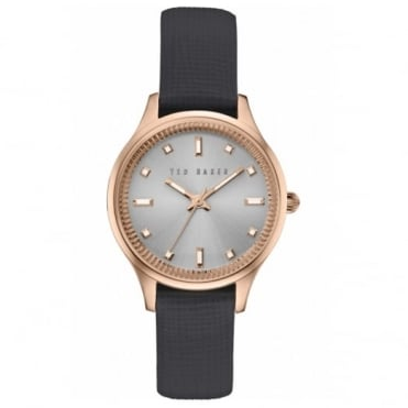 Ted Baker Ladies' Rose Plate Black Leather Saffiano Watch TE100030744
