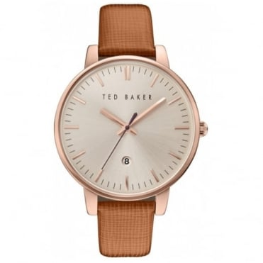 Ted Baker Ladies' Rose Plate Brown Leather Saffiano Watch TE100030738