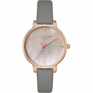 Ladies' Rose Plate Grey Leather Kate TEC0025002