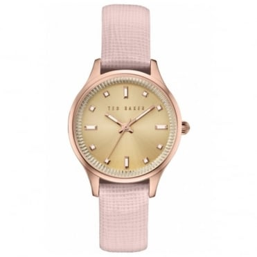 Ted Baker Ladies' Rose Plate Pink Leather Saffiano Watch TE100030743