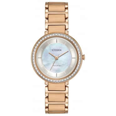 Ladies' Rose Plate Stone Set Eco-Drive Watch EM0483-54D