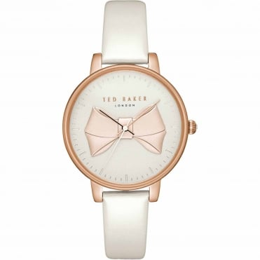 Ladies' Rose Plate White Leather Brook Watch TEC0185005