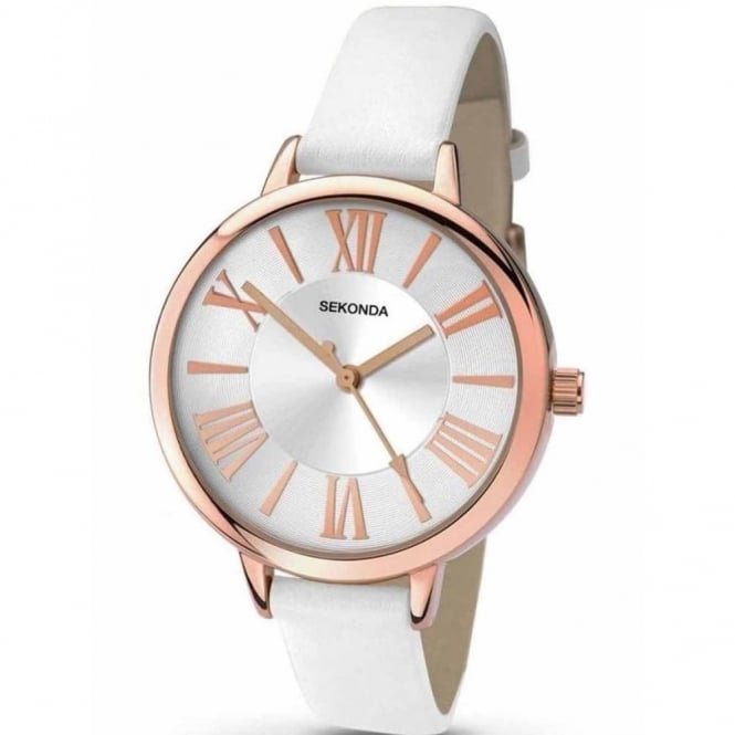 Ladies' Rose Plate White Leather Watch 2327