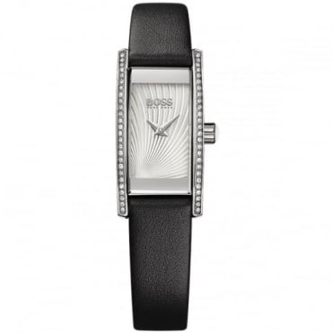 Ladies' S/Steel Black Leather Cocktail Watch 1502390