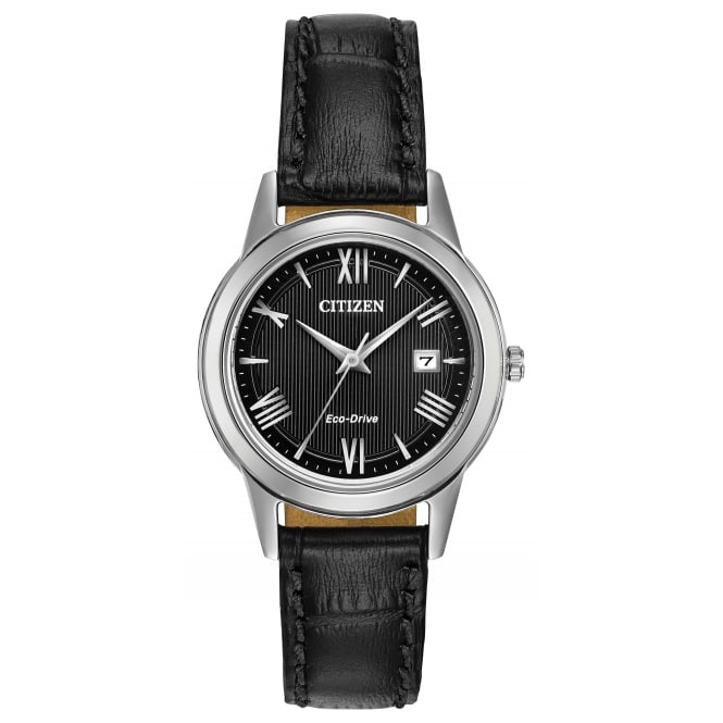 Ladies' S/Steel Black Leather Eco-Drive Watch FE1081-08E