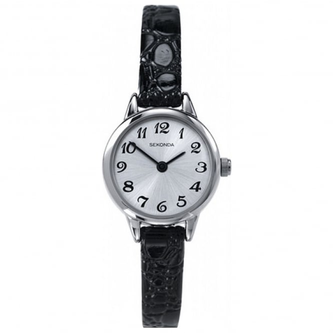 Ladies' S/Steel Black Leather Watch 4471