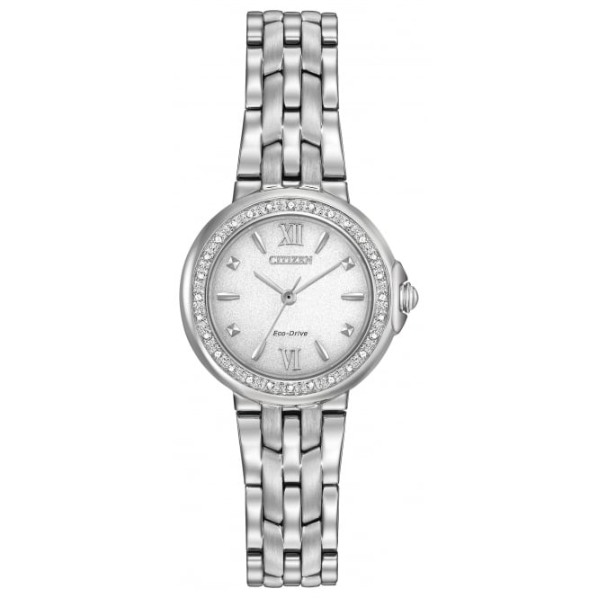 Ladies' S/Steel Diamond Set Eco-Drive Watch EM0440-57A