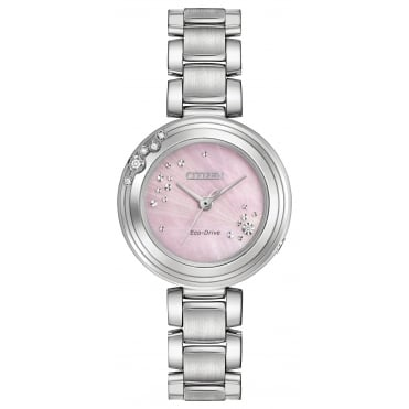 Ladies' S/Steel Diamond Set Eco-Drive Watch EM0460-50N