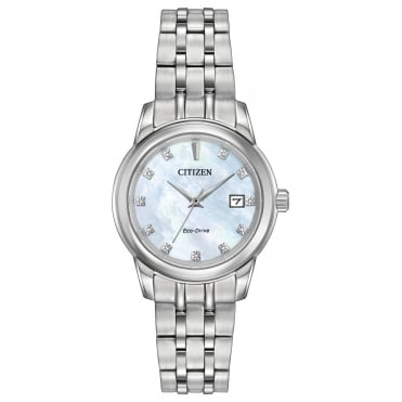 Ladies' S/Steel Diamond Set Eco-Drive Watch EW2390-50D