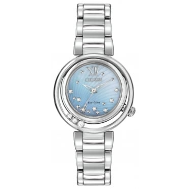 Ladies S/Steel Diamond Set Sunrise Eco-Drive Watch EM0320-59D