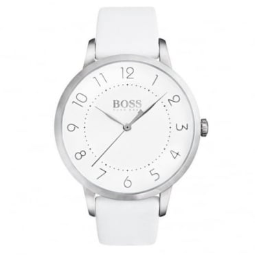 Ladies' S/Steel Plate White Leather Eclipse Watch 1502409