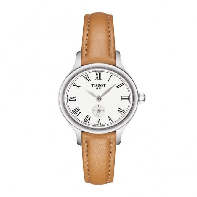 Ladies' S/Steel Tan Leather Bella Ora Piccola T1031101603300