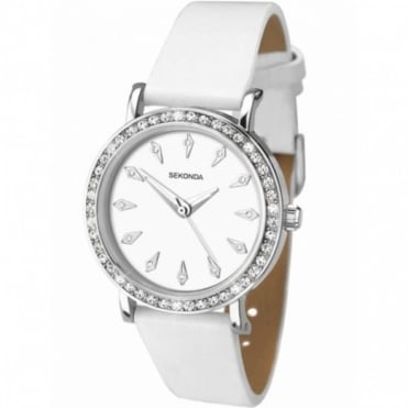 Ladies' S/Steel & White Leather Watch 2024