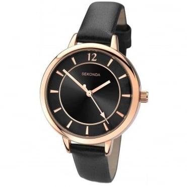 Ladies' Summer Time Black Leather Watch 2138