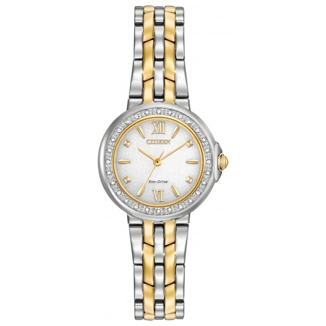 Ladies' Two Tone Diamond Set Eco Drive Watch EM0444-56A