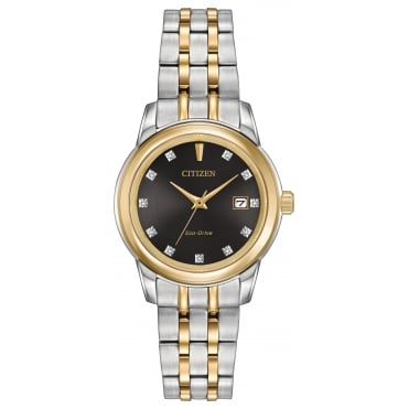 Ladies' Two Tone Diamond Set Eco Drive Watch EW2394-59E