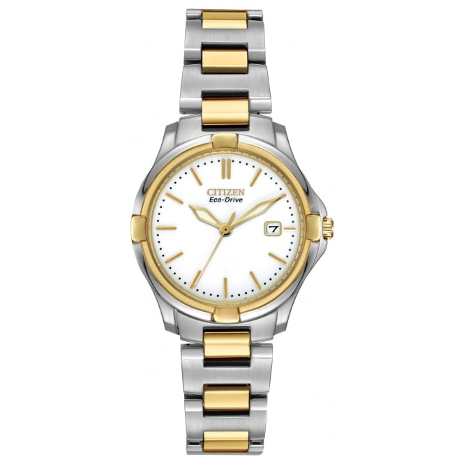 Ladies' Two Tone Silhouette Eco-Drive Watch EW1964-58A