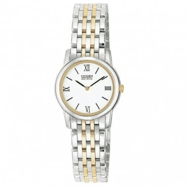 Ladies Two Tone Stiletto Eco-Drive Watch EG3044-59A